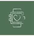 Smartwatch with heart sign icon drawn in chalk vector image