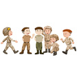 Soldiers in brown uniform vector image vector image