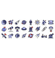 space research technology icons set flat vector image vector image