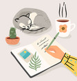 stay at home woman writes a diary at home vector image