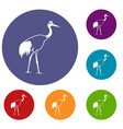 stork icons set vector image vector image