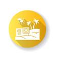 travel video yellow flat design long shadow glyph vector image