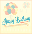 vintage happy birthday card with balloons vector image