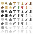 wild west set icons in cartoon style big vector image