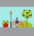 woman on bench with laptop in city park plants vector image vector image