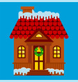 house with a facade decorated for christmas vector image