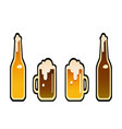 a glasses and a bottles of beer vector image