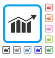 bar chart trend framed icon vector image vector image