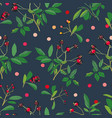 black pattern with rose plant and dots vector image vector image