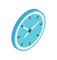 Blue wall clock icon isometric 3d style vector image