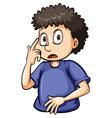 Boy pointing at his eye vector image vector image