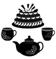 Cake teapot and cups contours vector image vector image