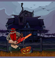 cartoon man with a chainsaw and a halloween vector image