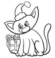 cat on christmas time coloring book vector image vector image
