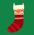 christmas cat wearing a face mask cute holiday vector image