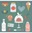 Colorful collection of sweets and drinks vector image
