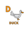 cute cartoon animals alphabet duck vector image