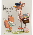 cute fawn and fox with letter vector image vector image