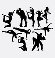 Dancing male female and couple silhouettes vector image vector image