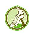 Gardener Landscaper Digging Shovel Circle vector image vector image
