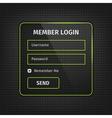 green member login ui on black background vector image