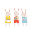 group funny adorable bunnies or rabbits holding vector image