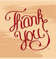 hand lettering thank you on grunge brush vector image vector image