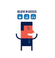 happy businessman with icons business success vector image