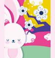 happy mid autumn festival rabbit flowers tree vector image vector image