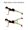 high plank to glute kickback exercise vector image vector image