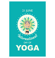international day yoga banner with old woman vector image vector image