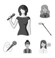 isolated object of karaoke and music logo set of vector image