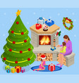 isometric interior christmas glowing christmas vector image vector image