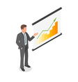 Isometric of a businessman showing presentation vector image vector image