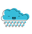 kawaii cloud with rain in watercolor silhouette vector image vector image