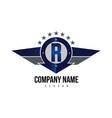 letter r shield logo vector image vector image