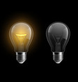 light bulb realistic glowing and turned off vector image vector image