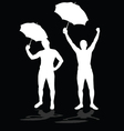 man silhouettes with umbrellas vector image vector image