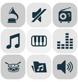 music icons set with mixer piano drum and other vector image vector image
