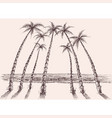 palm trees beach sea view hand drawing vector image vector image