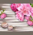 peony flower bouquet and macaroons on wood vector image vector image