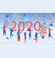 people celebrate new year night in snowy city park vector image