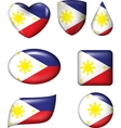 Philippines flag in various shape glossy button vector image vector image