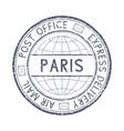 postal stamp with paris france title round gray vector image vector image