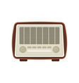 retro wooden radio with buttons and two settings vector image