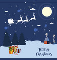 santa claus team of young deer in the night sky vector image vector image