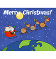 Santa delivering present cartoon vector image vector image