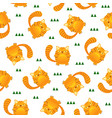 seamless pattern cute tiger stripes cat on white vector image