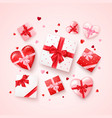 set gifts in square and hearts shaped boxes vector image vector image