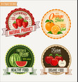 set of fresh and organic labels vector image vector image